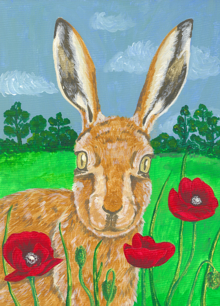 An acrylic portrait of a Brown Hare in a poppy meadow.