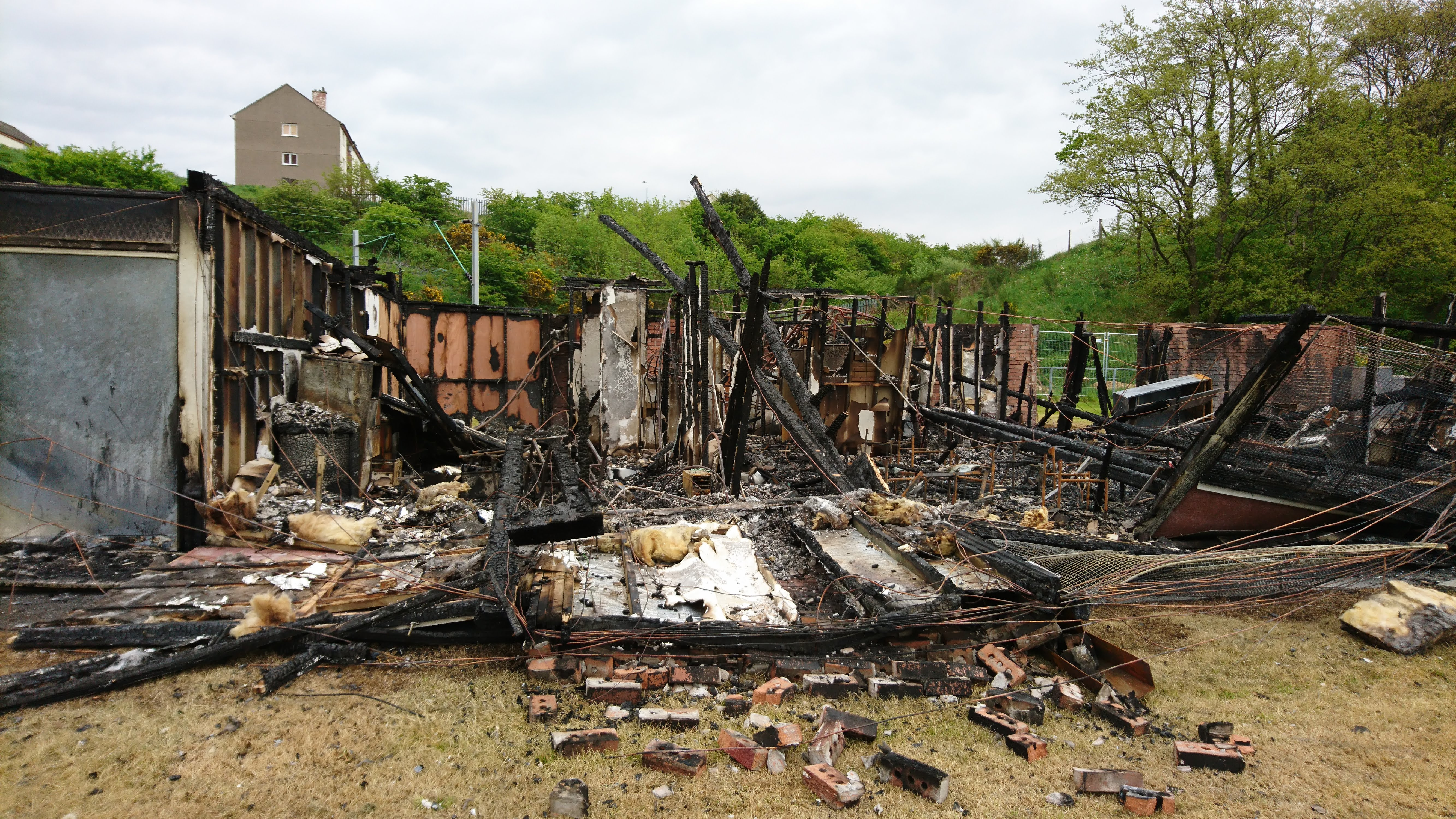 Photograph of the Havoc Pavilion after it was gutten by fire. May 2018