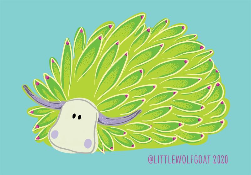 This is a portrait of a sea sheep. It is a sea slug covered in what looks like bright green leaves. This is a piece of digital art.